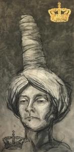 19DR002-aspirations-by-royal-decree-charcoal-lino-print-23ct-goldleaf-Rita-Lazauskas