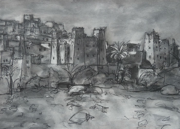 Ait Ben Haddou, charcoal on paper