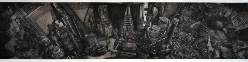 Food for the Masses, charcoal on paper, 40x150cm
