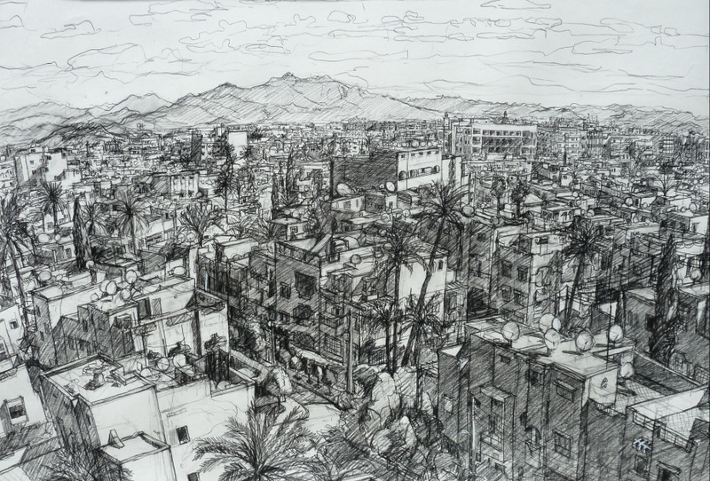view from the ramparts - Marrakech, charcoal on paper, 75x100cm