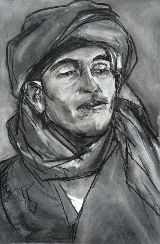 Mohamed the driver, charcoal on paper