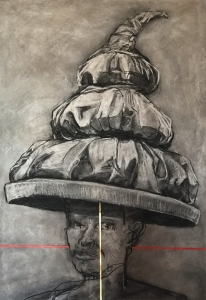19DR004-the-red-line-by-royal-decree-charcoal-acrylic-23ct-goldleaf-Rita-Lazauskas
