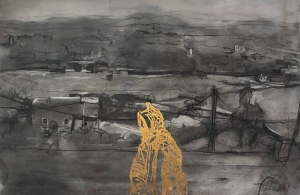 2-Skoura-dust-storm-The-Red-Line-charcoal-pastel-gouache-23ct-goldleaf-on-paper
