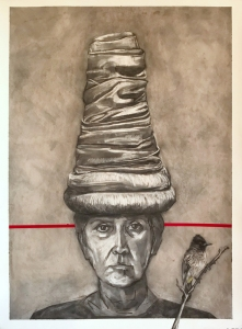 By-Royal-Decree-across-the-red-line-charcoal-lino-print-23ct-gold-leaf