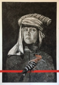The-Red-Line-Hoopoe-charcoal-gouache-pastel-on-paper-76x56cm
