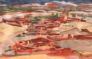 19PT020-Skoura-Oasis-Settlement-1-gouache-Rita-Lazauskas