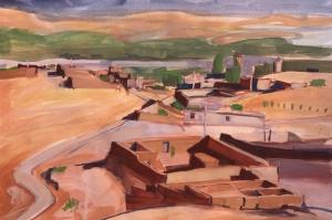 19PT021-Skoura-Oasis-Settlement-2-gouache-Rita-Lazauskas