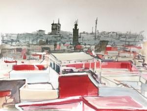 19PT026-Rabat-cityscape-gouache-Rita-Lazauskas