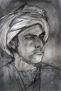 19DR015-young-man-in-a-turban-hassan-charcoal-Rita-Lazauskas