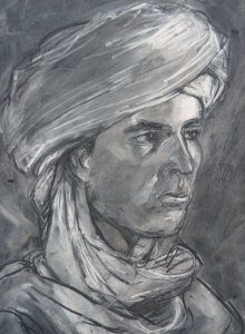 19DR016-young-man-in-a-turban-youssef-1-charcoal-Rita-Lazauskas