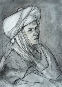 19DR025-young-man-in-a-turban-Issam-charcoal-on-paper-Rita-Lazauskas-