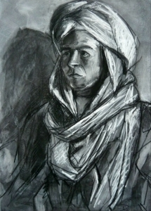 19DR026-young-man-in-a-turban-Issam-2-charcoal-on-paper-Rita-Lazauskas-