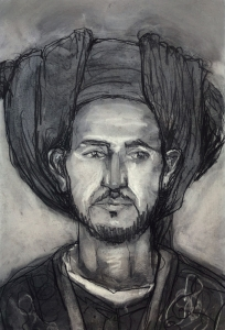 19DR029-young-man-in-a-turban-4-charcoal-on-paper-Rita-Lazauskas